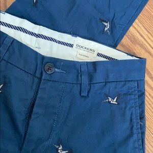 Dockers Slim Tapered Chinos Navy w/Bird Embroidery